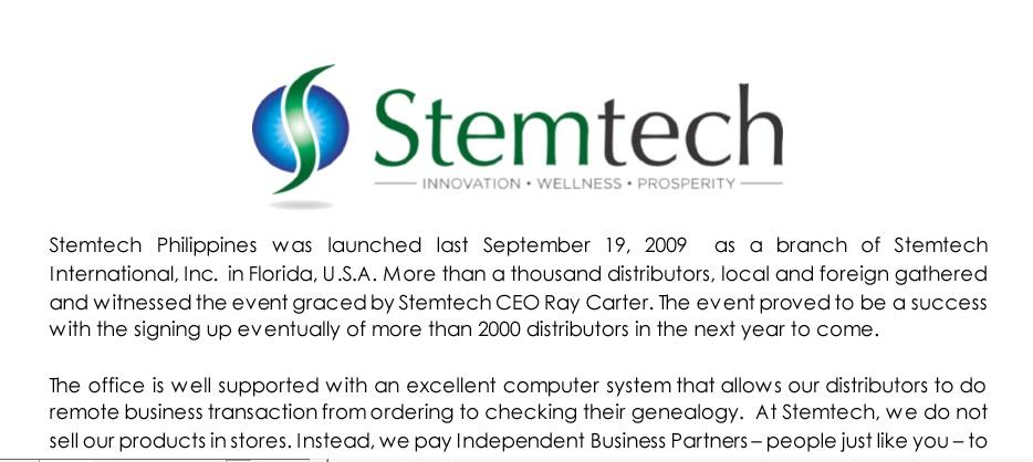 stemtech press release