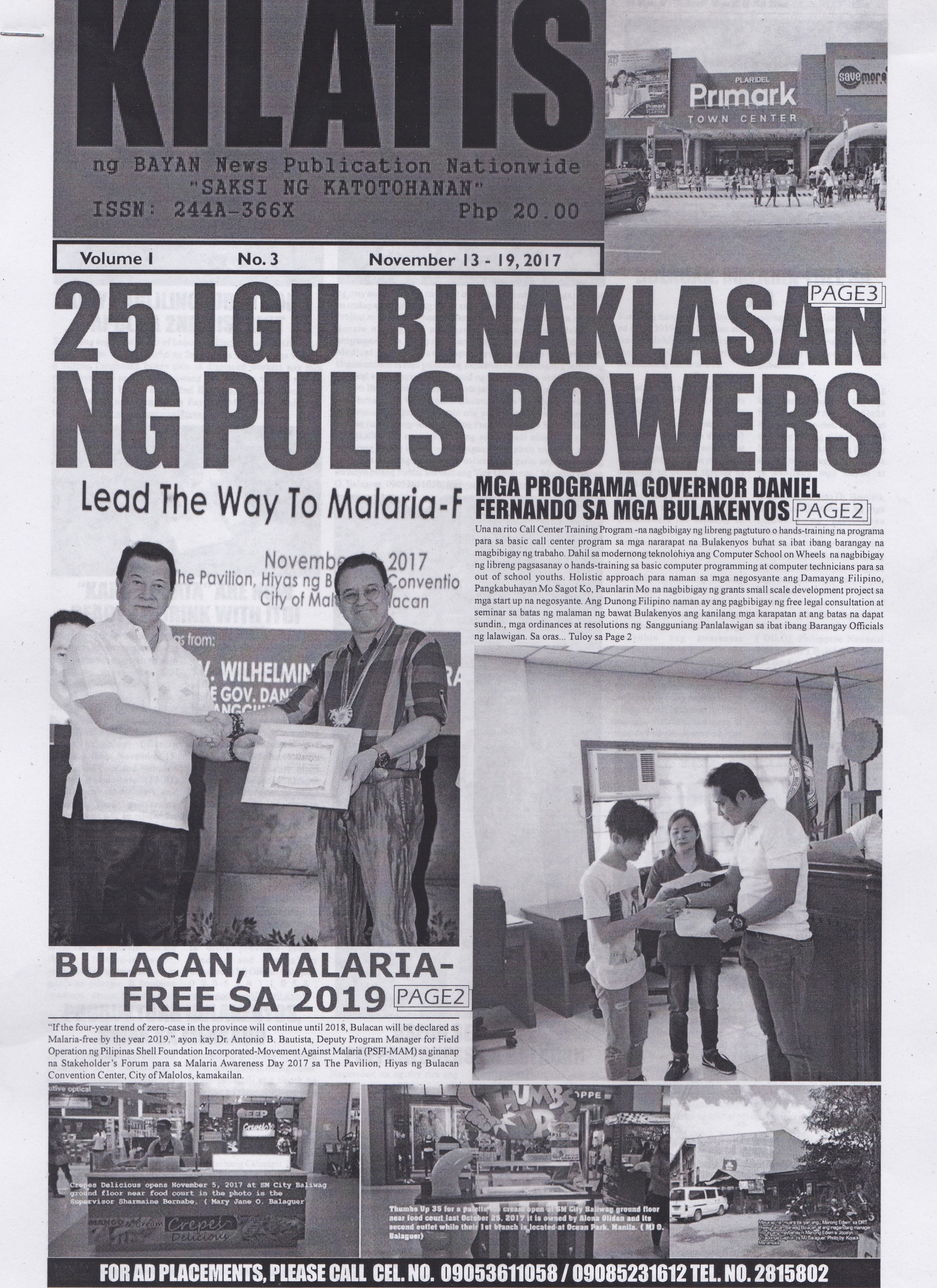 KILATIS ng bayan news publication third issue 111311102017