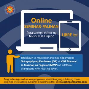 KWF, may libreng online seminar-palihan para sa mga editor ng teksbuk sa Filipino