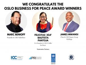 Marc Benioff, James Mwangi and Felicitas Pantoja