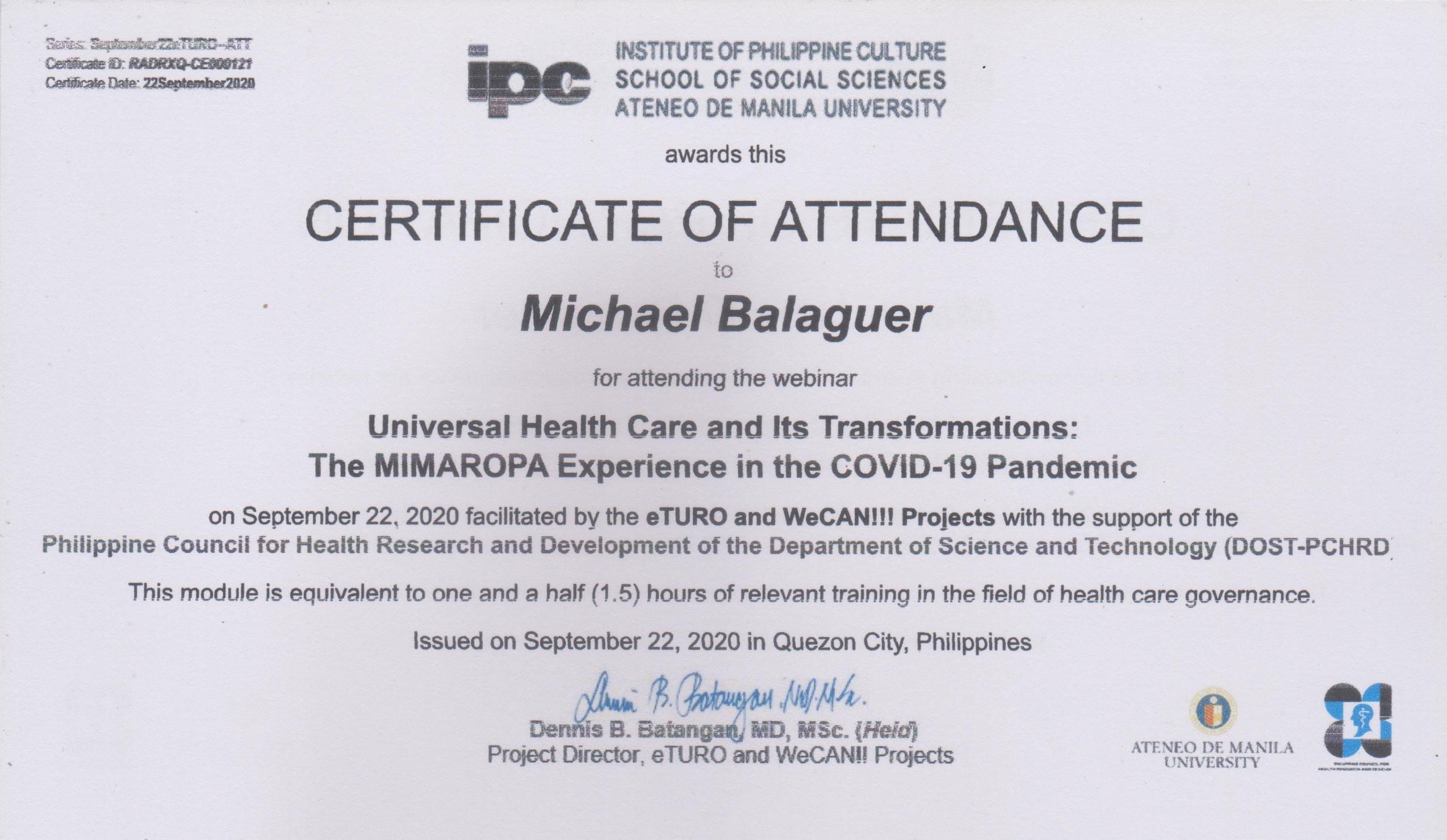 Michael Balaguer Certificate of Attendance