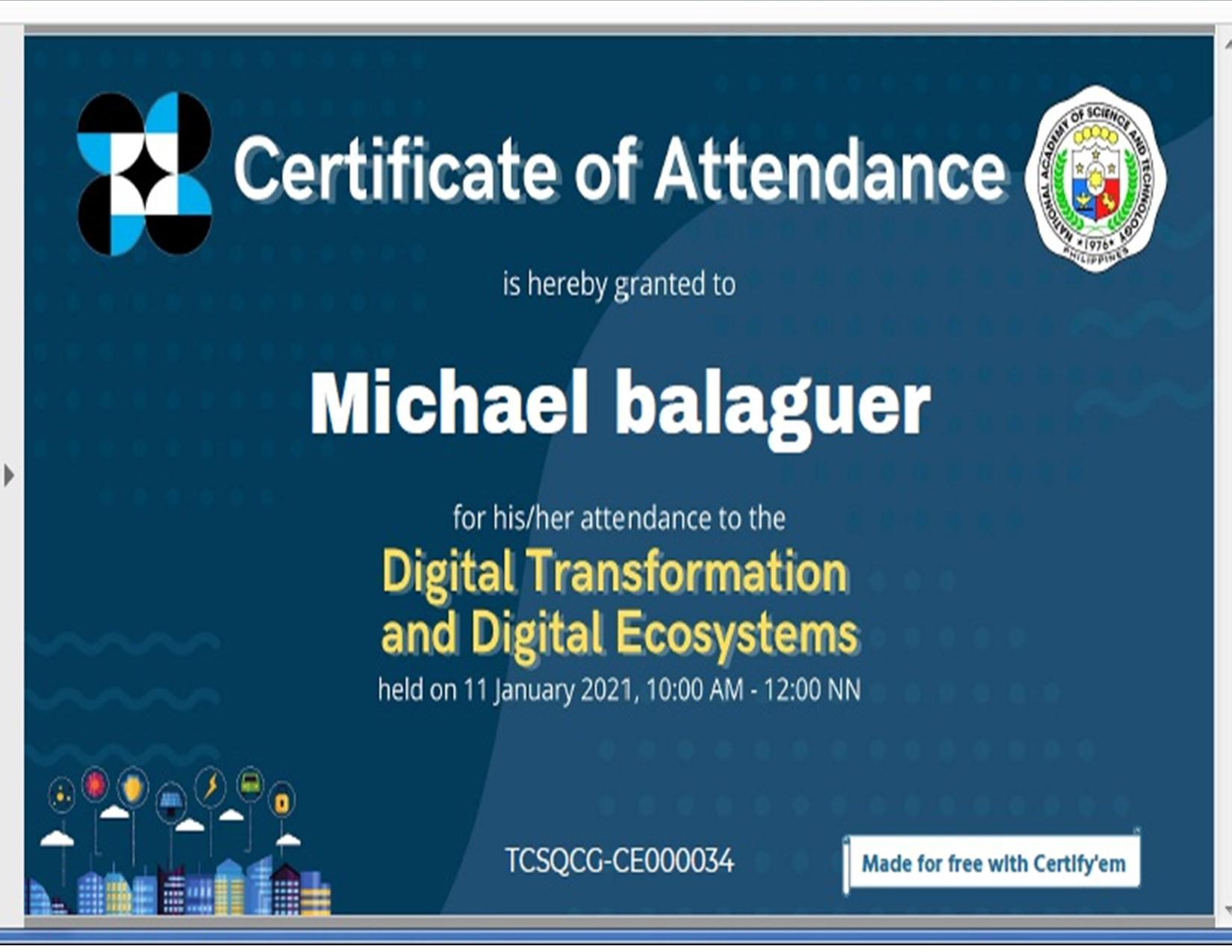 digital transformation certificate of michael 1