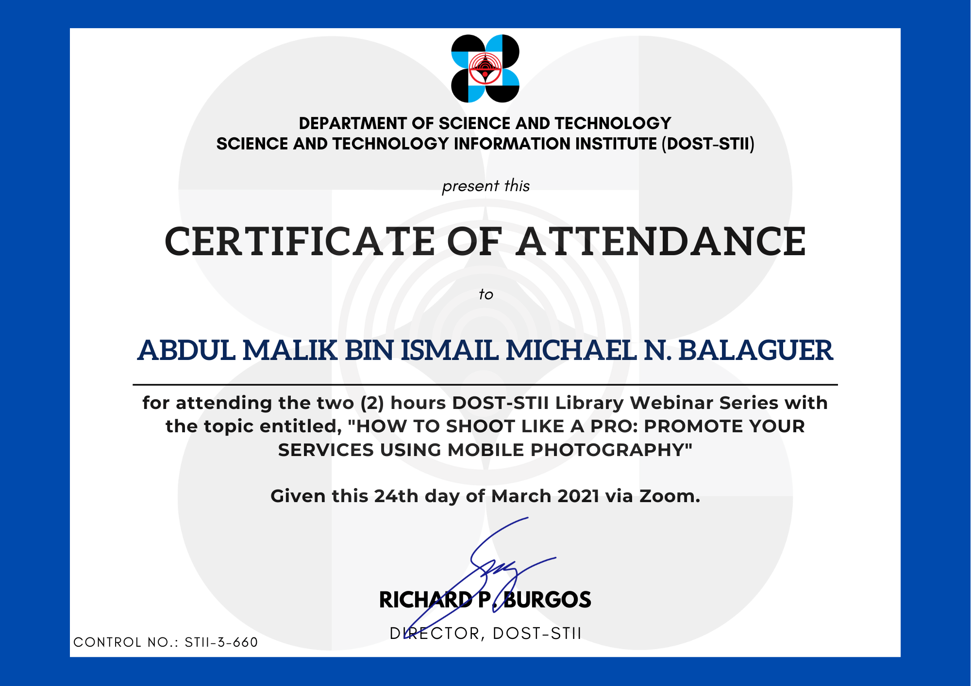 Abdul Malik Bin Ismail Michael N. Balaguer
