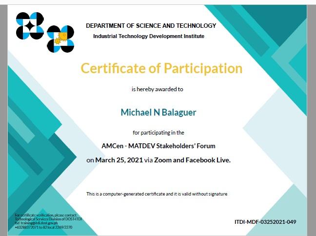 cert of part MATDEV ITDI michael