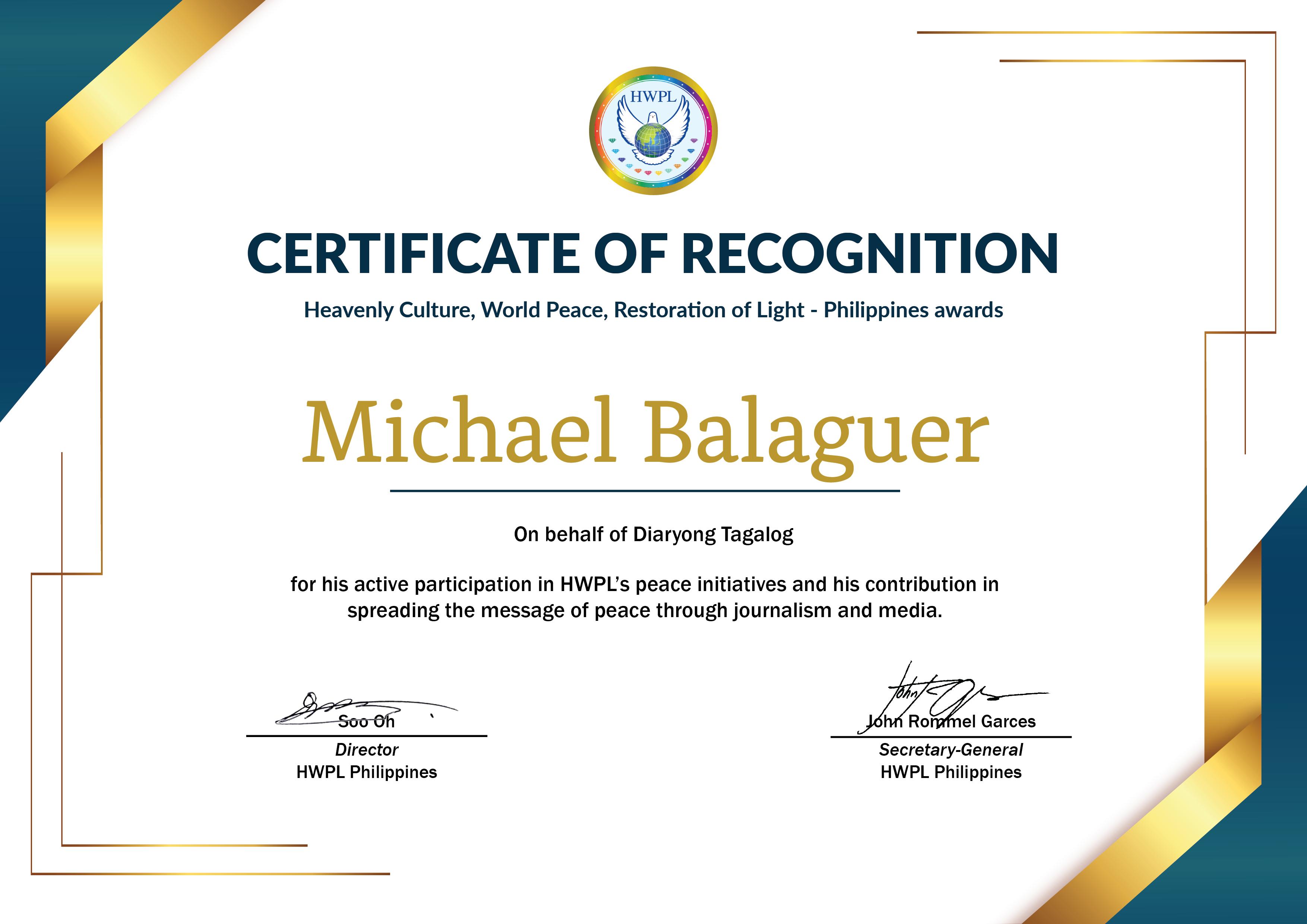 HWPL Cert of Recog_ Michael Balaguer