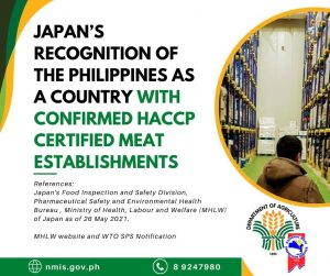 Japan's recognition of the Philippines as a country with confirmed HACCP Certified Meat Establishments